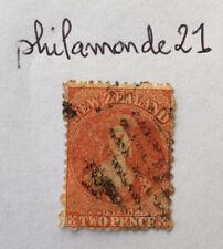 Timbre New Zealand oblitéré 1862. Queen Victoria 2 pence orange Nouvelle Zélande