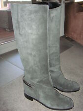 Louboutin CATE flat riding boots - grey suede with gunmetal chain, BNIB - 39