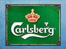 Metal plaque grunge retro style Carlsberg beer mancave tin wall door bar sign
