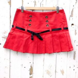 RIVER ISLAND 90s y2k Skirt Red Pleated Military Bow Size 8 Vintage