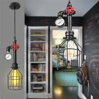 E27 Vintage Cage Industrial Pendant Lamp Steampunk Pipe Hanging Ceiling