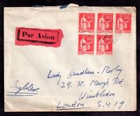 France 1933 multi stamp Airmail cover to London WS7364