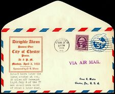 USS Akron Naval Zeppelin Flight Cover Chester PA Apr 3 1934 $125 Cat Watts Cach