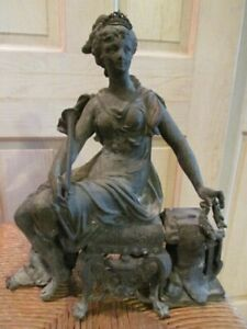 Antique Woman with Crown Spelter Figural Ansonia Opera Clock #501 Topper