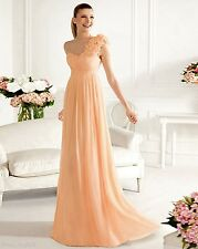 Chiffon One-Shoulder Bridesmaids Dress Party Evening Gowns Stock SZ 6-16 Custom