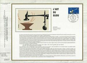 FEUILLET CEF 1er JOUR SUR SOIE FRANCE L'ART DU BIJOU 1983