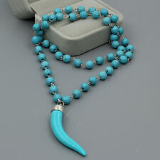 Blue Turquoise Stone Beaded Necklace wolf tooth wolf's fang Pendant Jewelry Gift