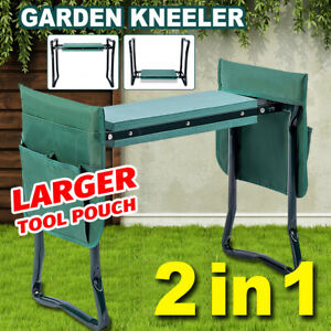 2-in-1 Garden Kneeler Seat Tool Pouch Foldable Bench Stool Gardeners Weed Puller