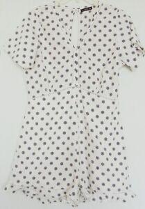 Cotton On PLAYSUIT White & Black Floral ROMPER short sleeve ~ Women sz M / 10