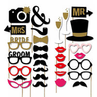 30pcs Photo Booth Party Props Selfie Wedding Party Photography Kit Beard Hat Tie