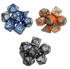 3 New 7 Piece Polyhedral Dice Sets Orange Blue Purple Blended With Silver