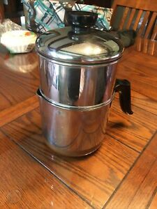 Vintage Revere Ware 4 Cup Drip-O-Later 1801 Plunger Coffee Pot Copper Bottom