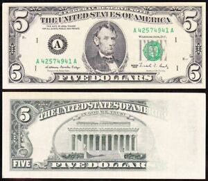"Amazing ERROR note ""Insufficient Ink on Reverse"" 1988 $5 Boston FRN! A42574941A"