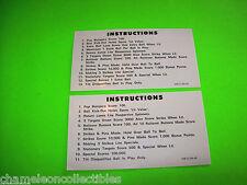 MEMORY LANE By STERN 1978 ORIGINAL PINBALL MACHINE SET OF 2 INSTRUCTION CARDS