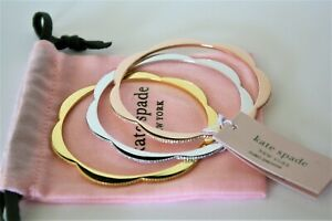Kate Spade Silver Rose Gold and Gold 3 Crystal Bangle Bracelets  NWT