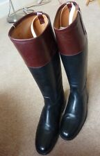 Hawkins Vintage Black Leather Riding Boots with Brown Tops & Original Boot Trees