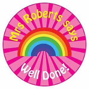80 Personalised Teacher Reward Stickers for Pupils Pink Rainbow well done
