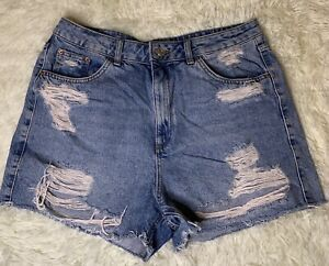 Topshop Moto W32 Tall Shorts, Rips, Blue, Size 12
