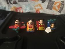 Vtg Disney Mickey Mouse Wind Up Vehicle Lot Fire Truck Airplane Helicopter Car B