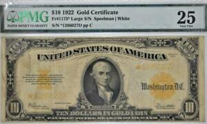 1922 $10 Gold Certificate; Fr.-1173*; PMG-25; Scarce Star Note!