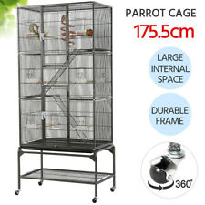175cm Large Rolling Metal Bird Parrot Cage for African Grey With Stand Wheels