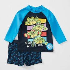 Teenage Mutant Ninja Turtles Rash UPF 50+ 2 Piece-Vest & trunk Set Blue Size 0