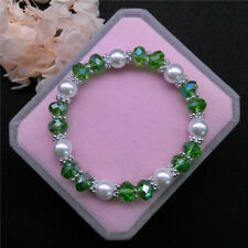Wholesale Fashion Jewelry 8mm Pearl 8mm Crystal Beads Stretch Bracelet QR09