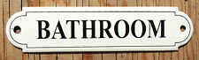 VINTAGE ENAMEL BATHROOM SIGN. BLACK TEXT ON A CREAM BACKGROUND. 12x3cm.