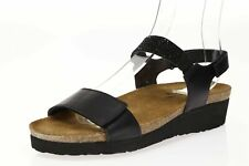 Womens NAOT Lisa 160183 Black Leather Ankle Strap Sandals sz. 38 / 7 US