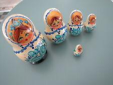 Five Piece Painted Matryoshka / Babushka / Stacking / Nesting Dolls - White