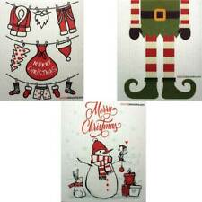 "Mixed Christmas ""B"" Set of 3 cloths Swedish Dishcloths (one of each design)"