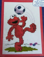 Janlynn Counted Cross Stitch Kit Sesame Street Elmo Soccer With Frame 68-18 NEW