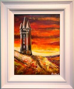 Original Oil Painting Abstract Irish Art SCRABO TOWER, NEWTOWNARDS, N. IRELAND