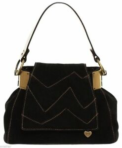 ESCADA Bag Black Suede Leather Brown Handbag Baguette Purse Gold HW