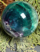 256.6g AWESOME NATURAL LAYERED FLUORITE CRYSTAL HEALING SPHERE Reiki  USA