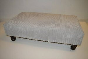 Extra Large Footstool  Coffe Table 100cms x 58cms in Silver Jumbo Cord Fabric