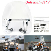 Universal Clear Motorcycle Windshield windscreen 7/8'' Or 1'' For Harley Honda