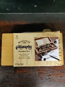 Winsor & Newton Calligraphy Wooden Box Set Inks Dip Pen Nibs Artist Drawing