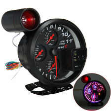 "4.7"" 4 IN 1 LED Car RPM Tachometer Oil Water Pressure Temp Gauge Red Shift Light"