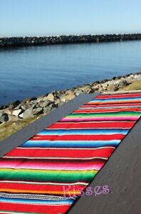 New Authentic Serape Mexican Table Runner Saltillo Sarape Colorful Striped