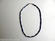 VINTAGE LAPIS LAZULI & 14K YELLOW GOLD NECKLACE