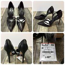 Zara Basic High Heels Women's 8 Black Faux Leather (Heel Height 4 Inch)