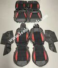 Custom Ford Mustang Coupe GT V6 Black / Suede/ Red Leather Seat Covers 2015-2021  for sale