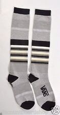 Vans ONE TWO STEP Gray Heather Black White Yellow Stripe Knee High Woman's Socks