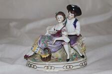 Antique German Dresden Scheibe Albash Germany COURTING COUPLE Figurine Excellent