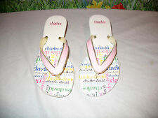 New CHARLES DAVID Signature Pink Leather Sandals Thongs 6