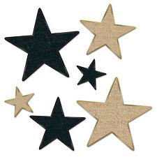 6 pc GLITTERED  Cardboard Cutout  Gold & Black STARS Awards Night Hollywood  Bir