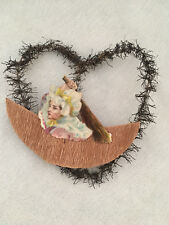 Antique Victorian Tinsel Scrap Die Cut Lady with Broom Christmas Ornament