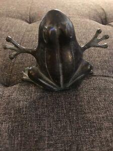 "SPI Bronze Frog Garden Figure 5"" Good Condition Piece San Pacific International"