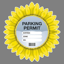 PARKING PERMIT Holder YELLOW GERBERA self-cling window graphic, decor – Freepost